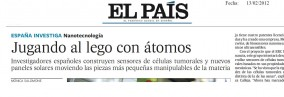 Nanoforcells project in the press. El Pas. 